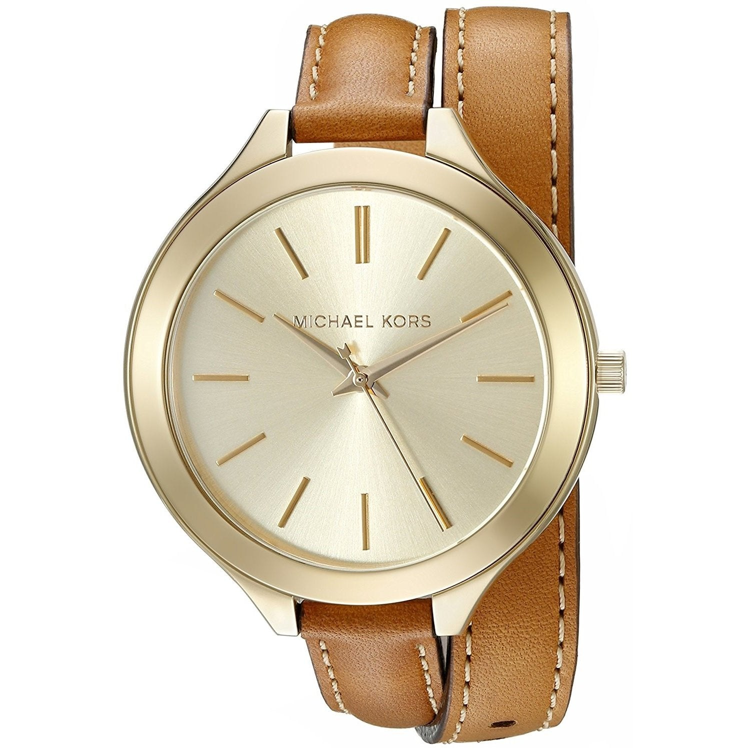 e78014093b15 Michael Kors Women s MK2256  Slim Runway  Brown Leather Watch ...