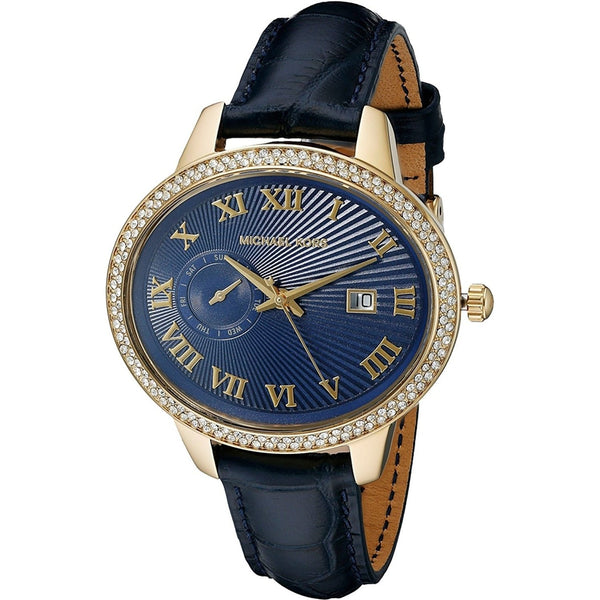 Michael Kors Women's MK2429 'Whitley' Crystal Blue Leather Watch