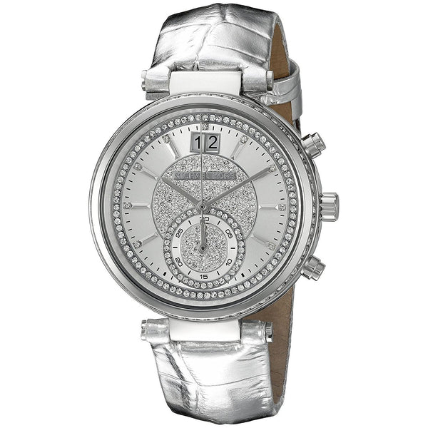 Michael Kors Women's MK2443 'Sawyer' Crystal Leather Watch
