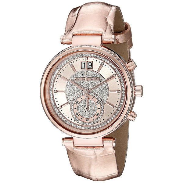 Michael Kors Women's MK2445 'Sawyer' Crystal Rose-Tone Stainless Steel Watch