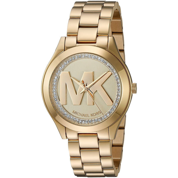 Michael Kors Women's MK3477 'Mini Runway' MK Logo Crystal Gold-tone Stainless Steel Watch