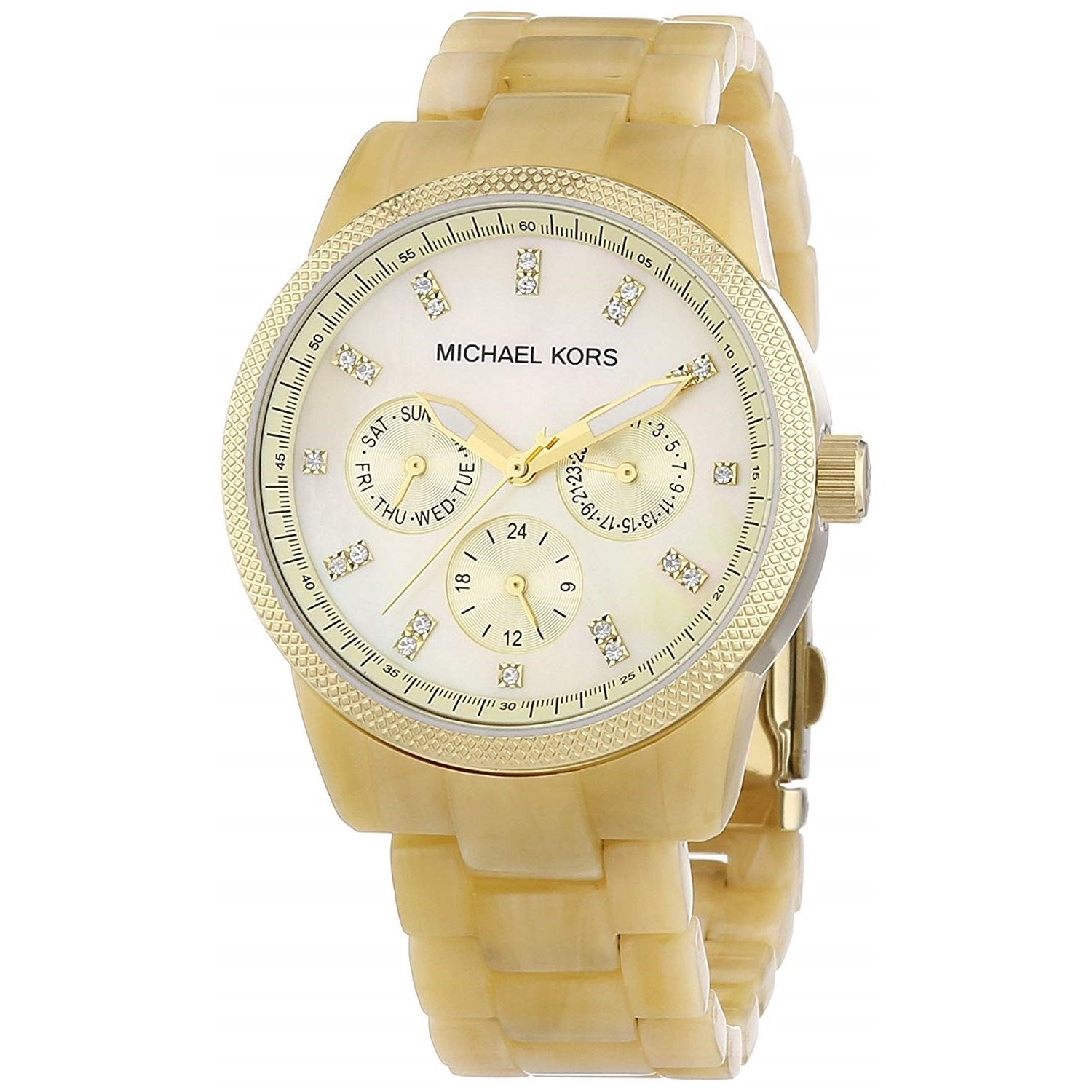 a42553f201be Michael Kors Women's MK5039 'Jet Set Horn' Multi-Function Crystal Yellow  Plastic Watch