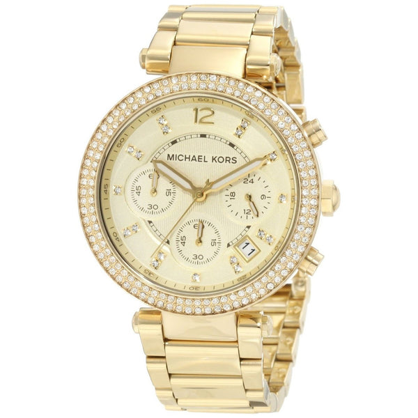 Michael Kors Women's MK5354 'Parker' Chronograph Crystal Gold-Tone Stainless Steel Watch