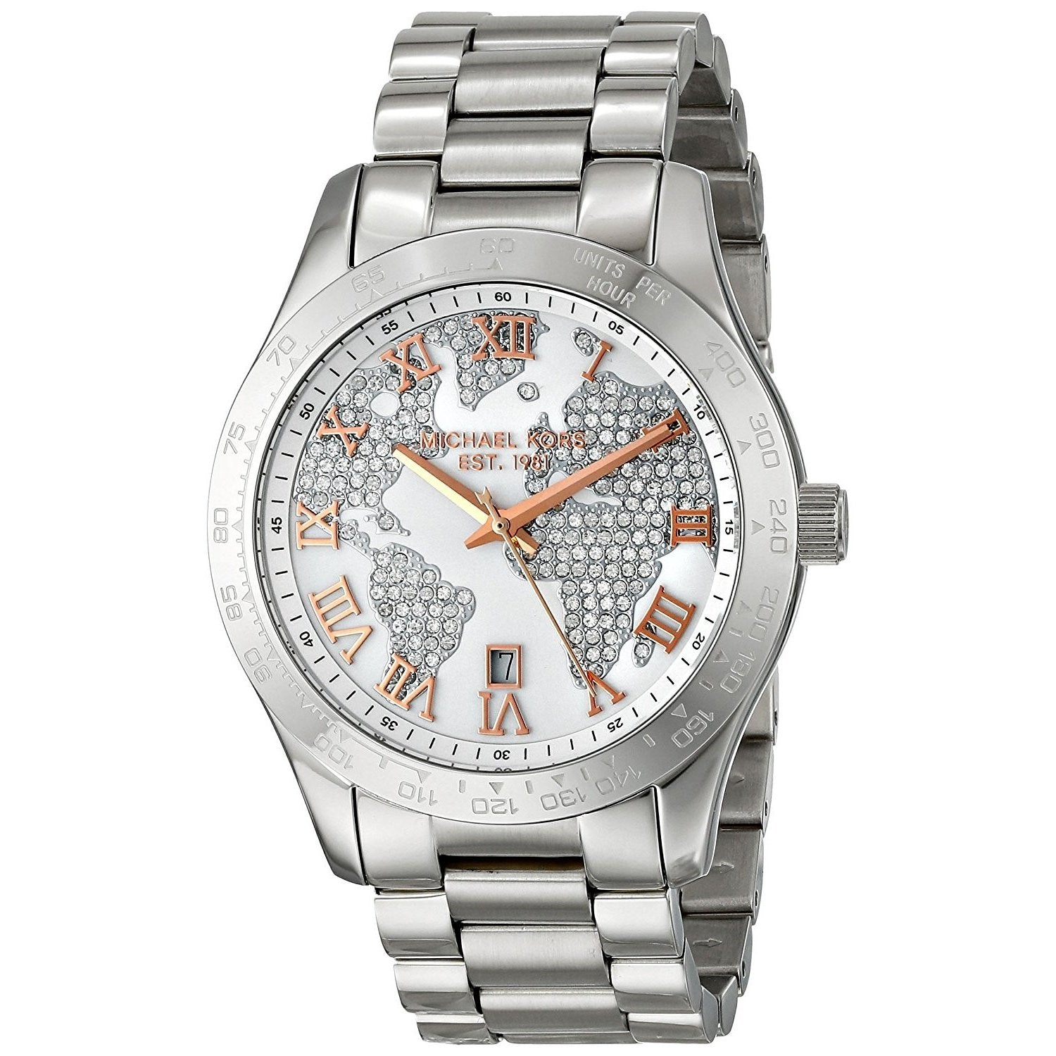 Michael Kors Women's MK5958 'Layton' Crystal Map Stainless Steel Watch