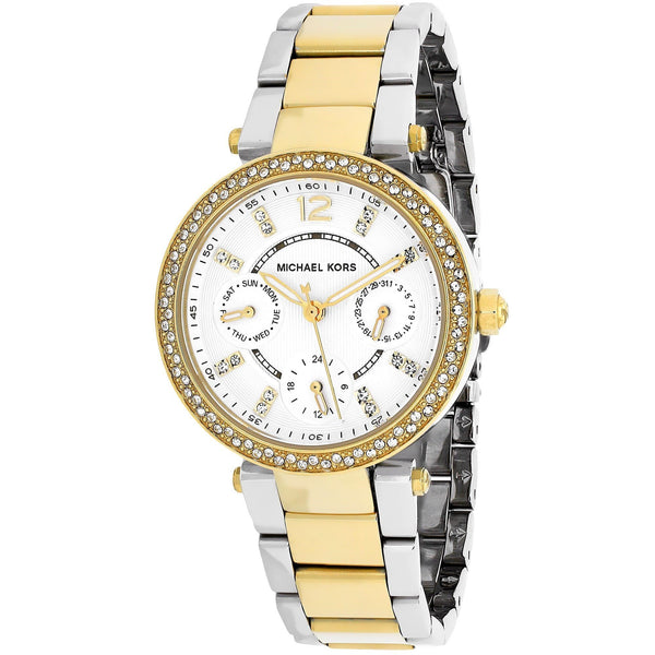 Michael Kors Women's MK6055 'Mini Parker' Chronograph Crystal Two-Tone Stainless Steel Watch