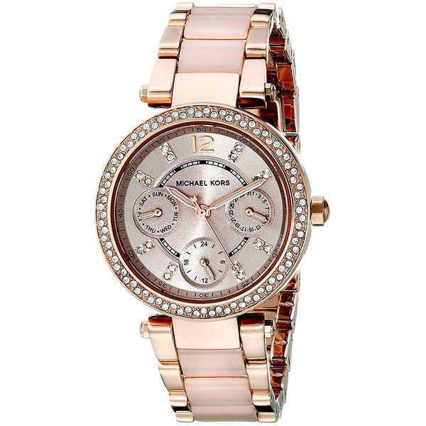 Michael Kors Women's MK6110 'Parker' Chronograph Crystal Rose-Tone Stainless Steel Watch