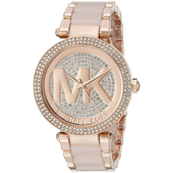 Michael Kors Women's MK6176 'Parker' MK Logo Crystal Rose-Tone Stainless Steel Watch