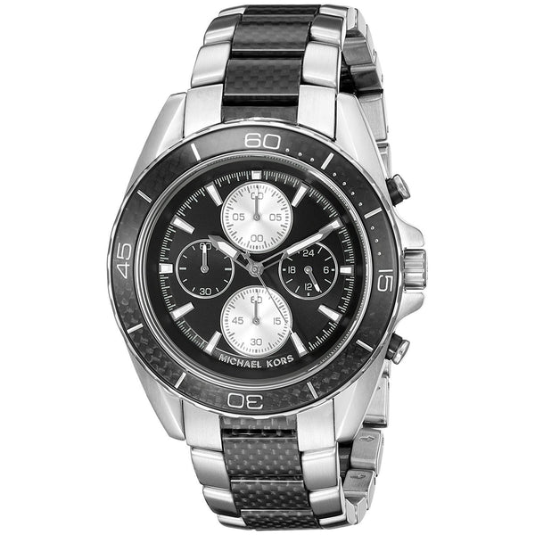 Michael Kors Men's MK8454 'JetMaster' Carbon Fiber Chronograph Two-Tone Stainless Steel Watch