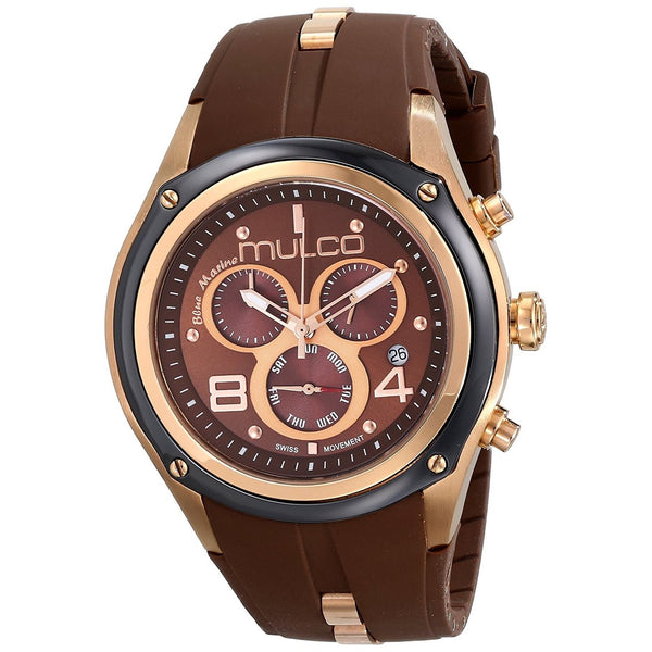 Mulco Unisex MW129902035 'Blue Marine' Chronograph Brown Silicone Watch