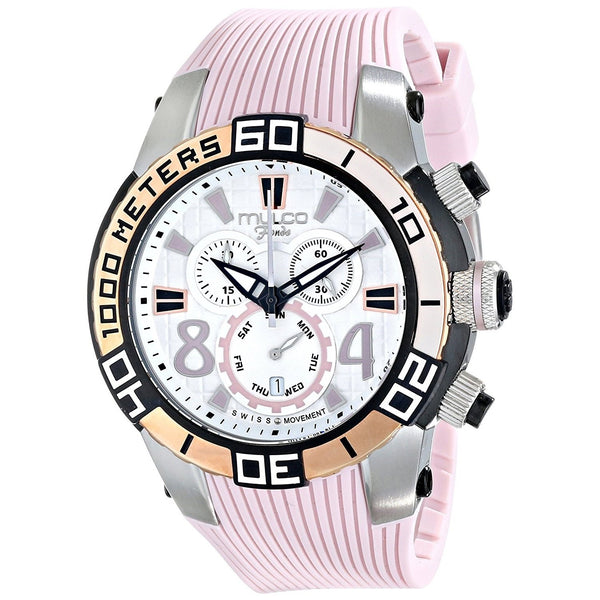 Mulco Unisex MW174197813 'Fondo wheel' Chronograph Pink Silicone Watch