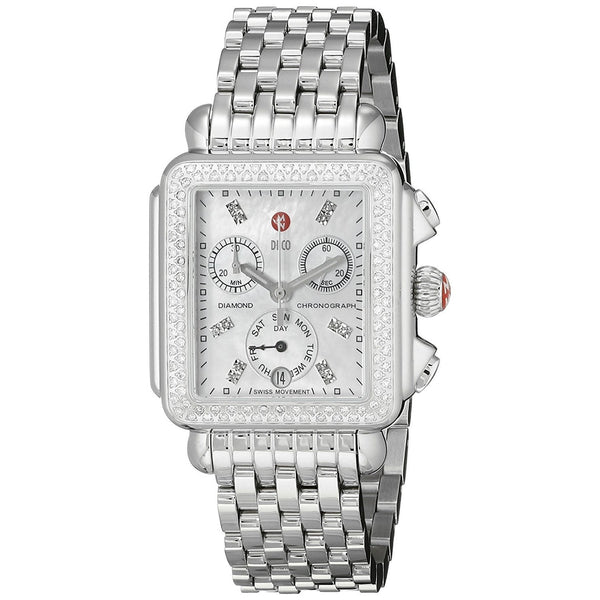 Michele Women's MWW06P000099 'Deco' Chronograph Diamond Stainless Steel Watch