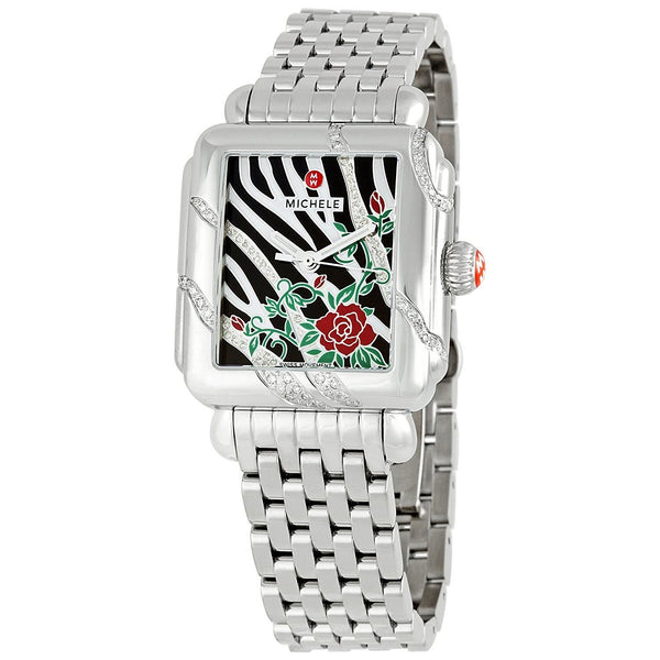 Michele Women's MWW06T000014 'Deco Safari Zebra Rose' Diamond Stainless Steel Watch