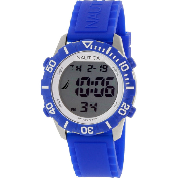 Nautica Unisex N09932G 'NSR' Digital Blue Silicone Watch
