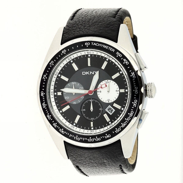 DKNY Men's NY1488 'Sport' Chronograph Black Leather Watch