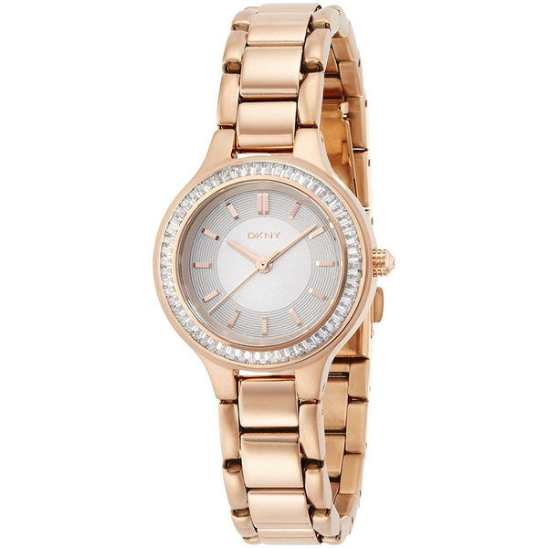 DKNY Women's NY2393 'Chambers' Crystal Rose-Tone Stainless Steel Watch
