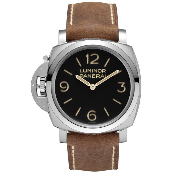 Panerai Men's PAM00557 'Luminor 1950 Left-handed 3 Days Acciaio' Mechanical Hand Wind Brown Leather Watch