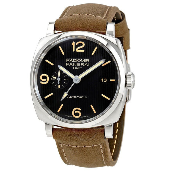 Panerai Men's PAM00657 'Radiomir 1940 3 Days GMT Acciaio' Automatic Brown Leather Watch