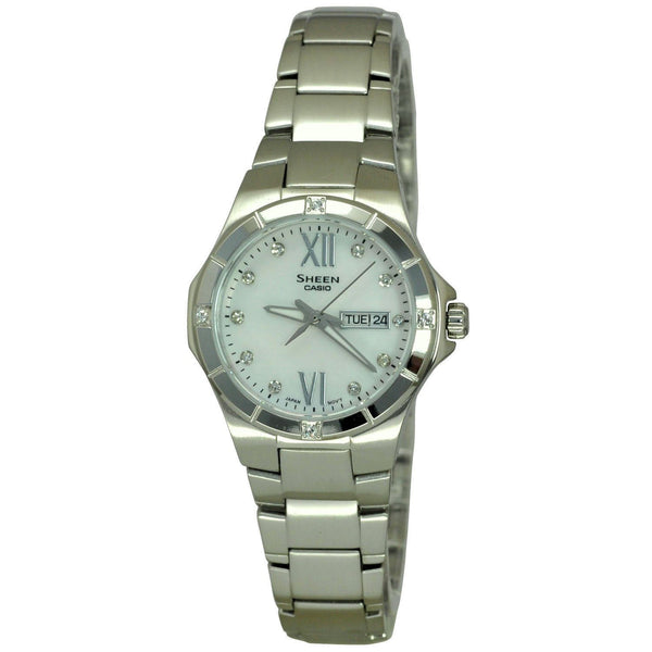 Casio Women's SHE4022D-7A 'Sheen' Crystal Stainless Steel Watch