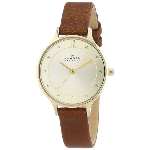 Skagen Women's SKW2147 'Anita' Crystal Brown Leather Watch