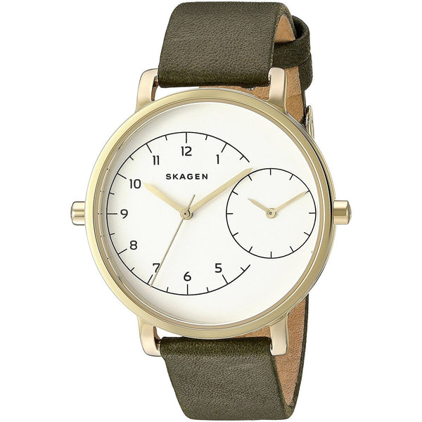 Skagen Women's SKW2476 'Hagen' Dual Time Green Leather Watch
