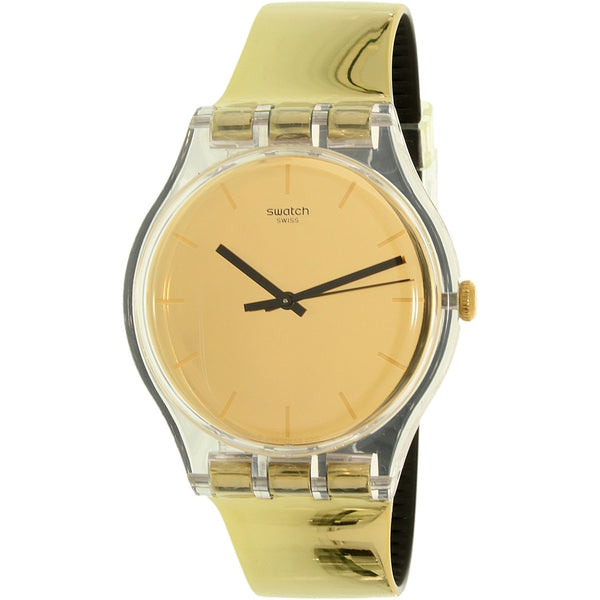 Swatch Women's SUOK120 'Goldenall' Gold-Tone Leather Watch