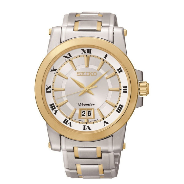 Seiko Men's SUR016 'Premier Perpetual Calendar Quartz ' Two-tone Stainless Steel Watch