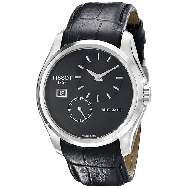 Tissot Men's T0354281605100 'Couturier' Automatic Black Leather Watch