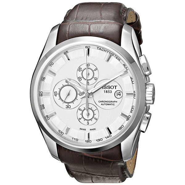Tissot Men's T0356271603100 'Couturier' Chronograph Automatic Brown Leather Watch