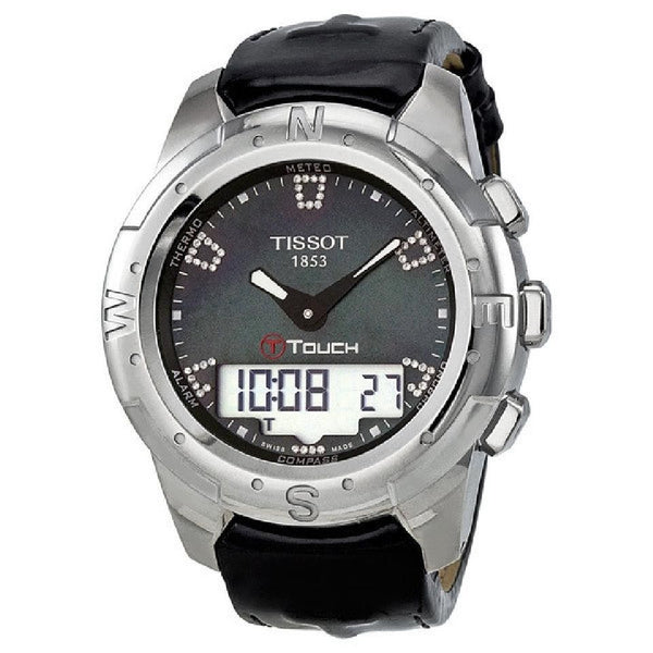Tissot Unisex T0472204612600 'T-Touch II' Analog-Digital Diamond Black Leather Watch