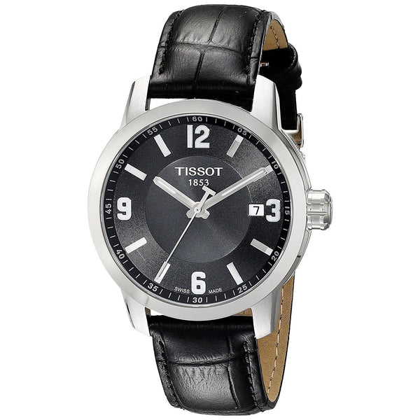 Tissot Men's T0554101605700 'PRC 200' Black Leather Watch