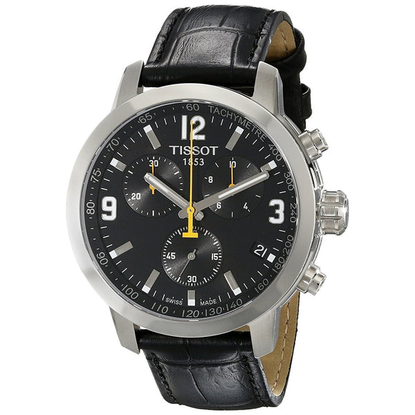 Tissot Men's T0554171605700 'PRC 200' Chronograph Black Leather Watch
