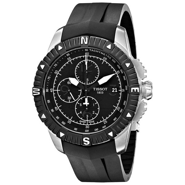 Tissot Men's T0624271705700 'T-Navigator' Chronograph Automatic Black Rubber Watch