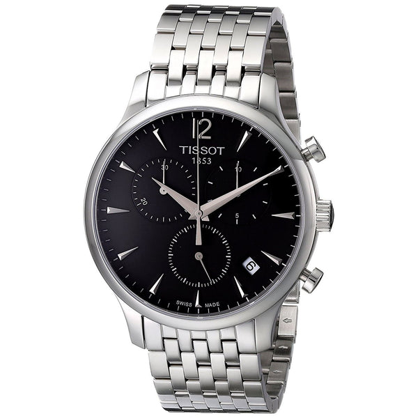 Tissot Men's T0636171106700 'T-Classic Charcoal Tradition' Chronograph Stainless Steel Watch