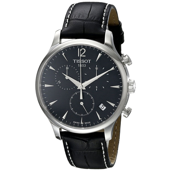Tissot Men's T0636171605700 'T-Classic Tradition' Chronograph Black Leather Watch