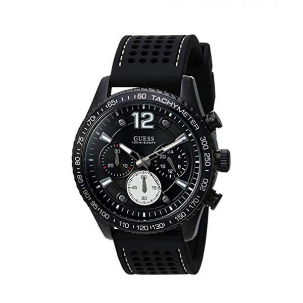 Guess Men's U0971G1 'Casual' Chronograph Black Silicone Watch