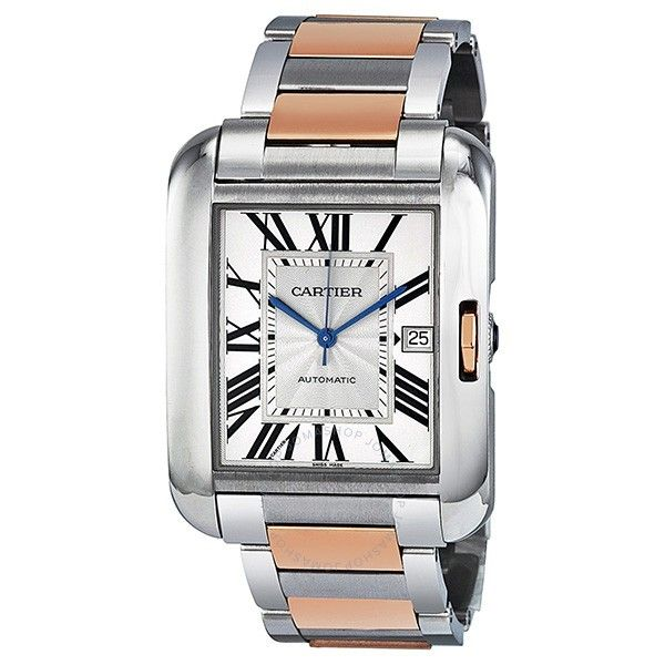 Cartier Men's W5310006 'Tank Anglaise XL' 18kt Rose Gold Two-Tone Stainless Steel Watch
