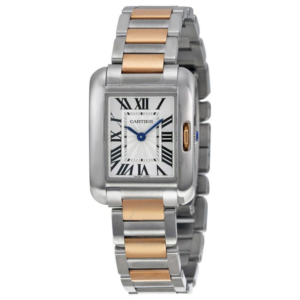 Cartier Women's W5310019 'Tank Anglaise Small' 18kt Rose Gold Two-Tone Stainless Steel Watch