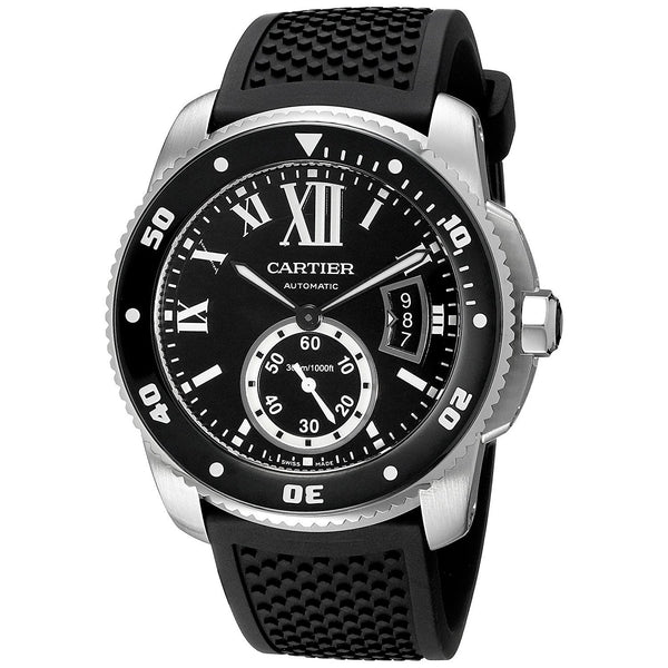Cartier Men's W7100056 'Calibre' Automatic Black Rubber Watch
