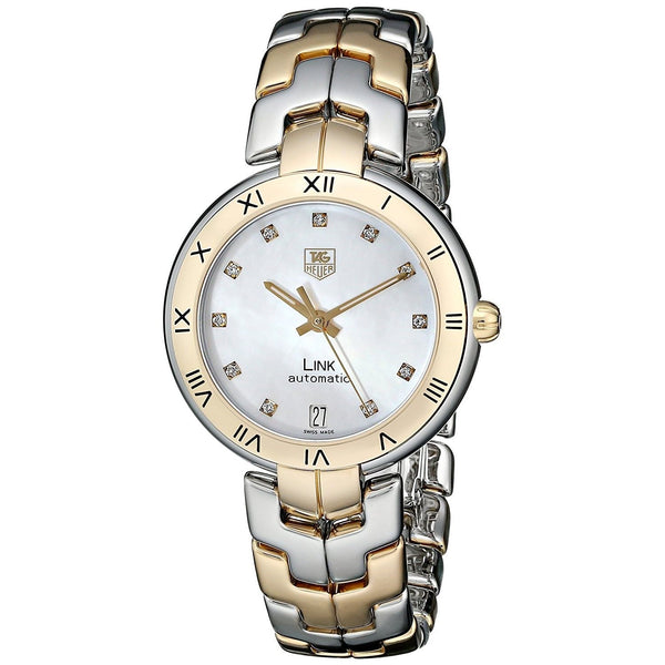 Tag Heuer Women's WAT2351.BB0957 'Link' 18kt Yellow Gold Diamond Automatic Two-Tone Stainless Steel Watch