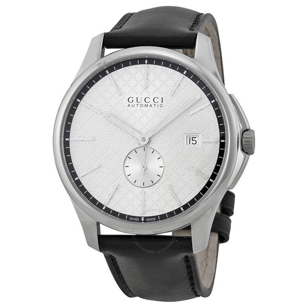 Gucci Men's YA126313 'G-Timeless' Automatic Black Leather Watch
