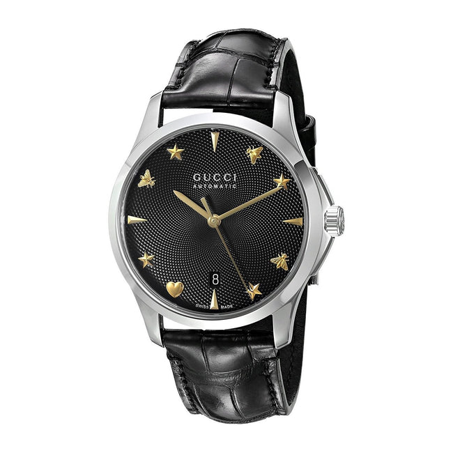 ef69dbedec3 Gucci Unisex YA126469  G-Timeless  Automatic Black Leather Watch ...
