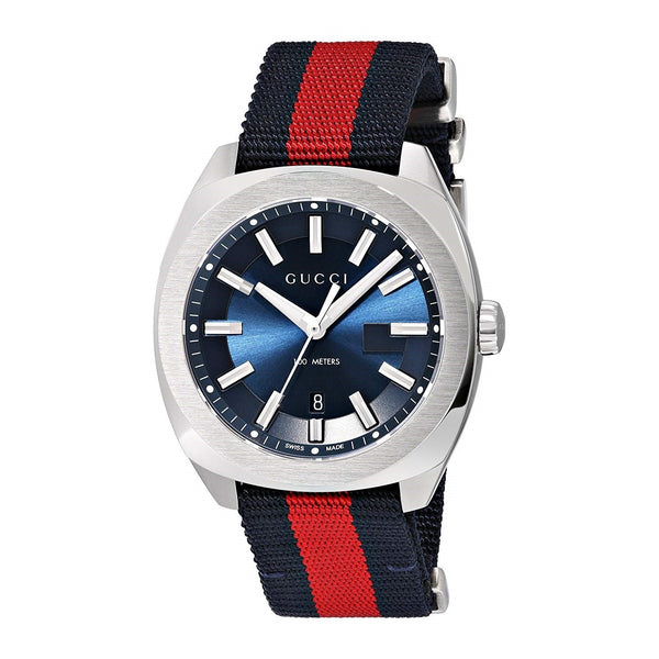 Gucci YA142304 GG2570 Blue Dial Blue and Red Nylon Men's Watch