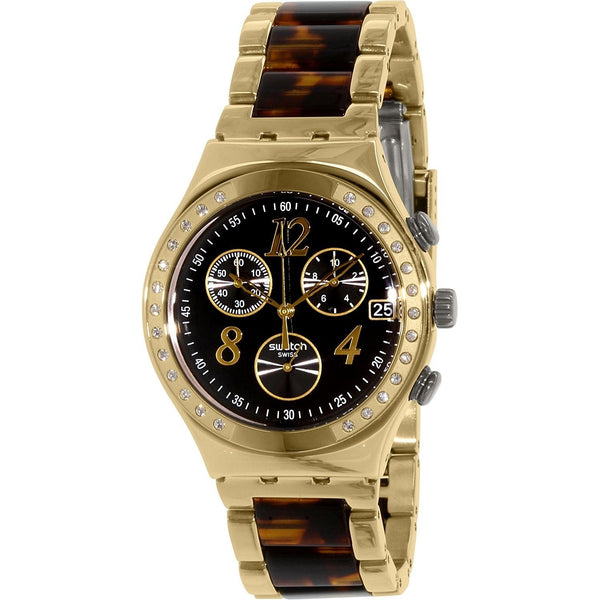 Swatch Women's YCG405GC 'Irony Dreamnight 14' Chronograph Crystal Tortoise Two-Tone Stainless Steel Watch