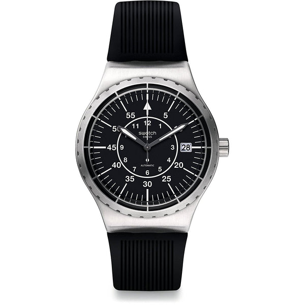 Swatch Men's YIS403 'Sistem Arrow' Automatic Black Rubber Watch