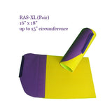 The RAS XL in purple and yellow is a flat sheet that wraps around the arm or leg・Arm & Leg Stabilizer | Specialized Care Co