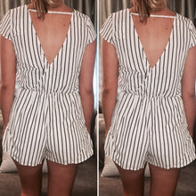 Striped Overlapped Top Romper