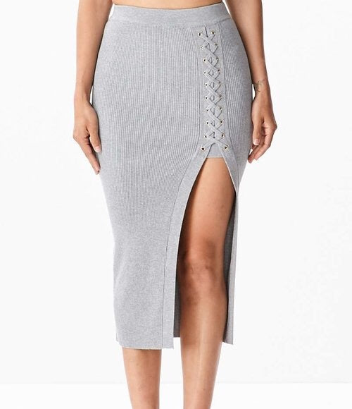 Esme Midi Knit Skirt - Grey