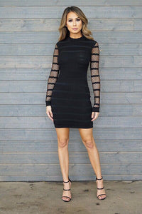 Mya Long Sleeve Dress- Black