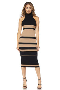 Aria Striped Midi Dress- Nude