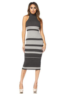 Aria Striped Midi Dress- Grey
